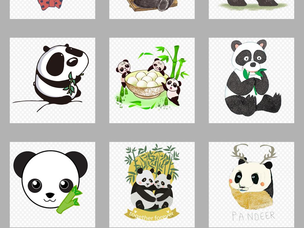 卡通可爱手绘熊猫png素材集合