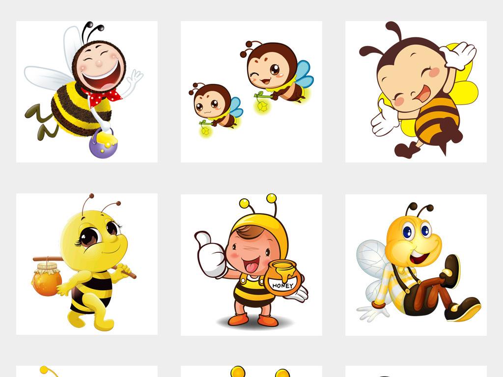 50款卡通可爱手绘小蜜蜂采蜜海报png免扣素材