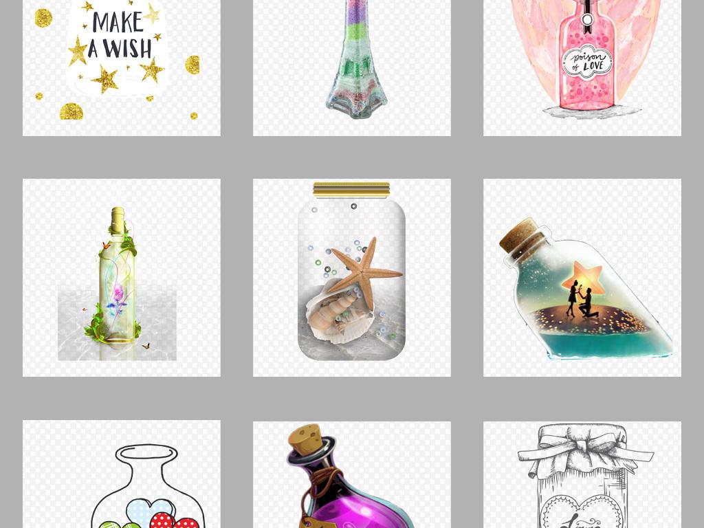 手绘卡通漂流瓶许愿瓶背景png素材
