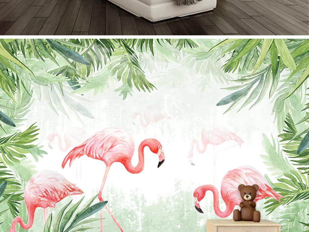 手绘热带雨林火烈鸟背景墙图片设计素材_高清psd模板