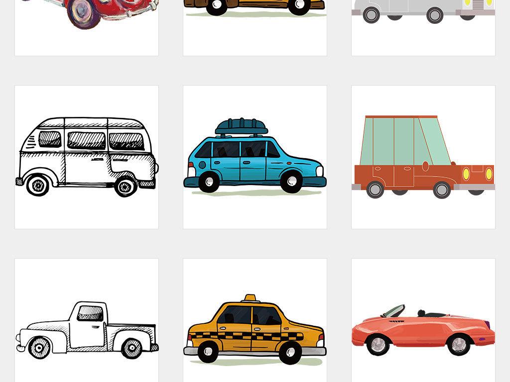 ai/独立png/手绘卡通汽车图片素材