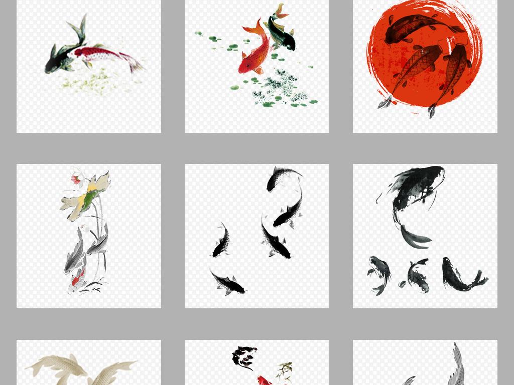中国风古典水墨鲤鱼png背景素材图片 模板下载 30.14MB 中国风大全 图片