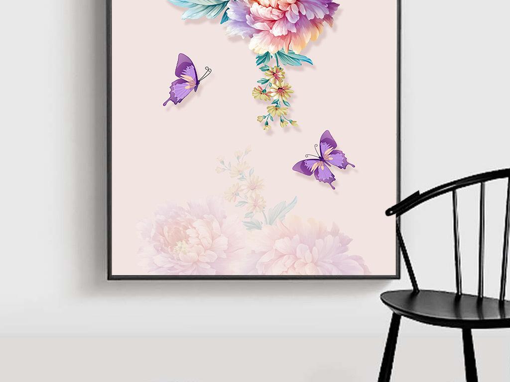 高清现代手绘牡丹花蝴蝶玄关壁画