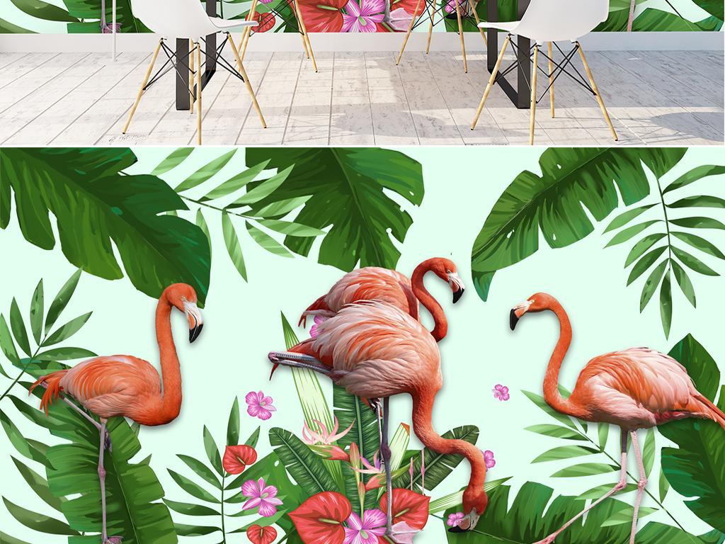 手绘热带雨林植物火烈鸟背景墙