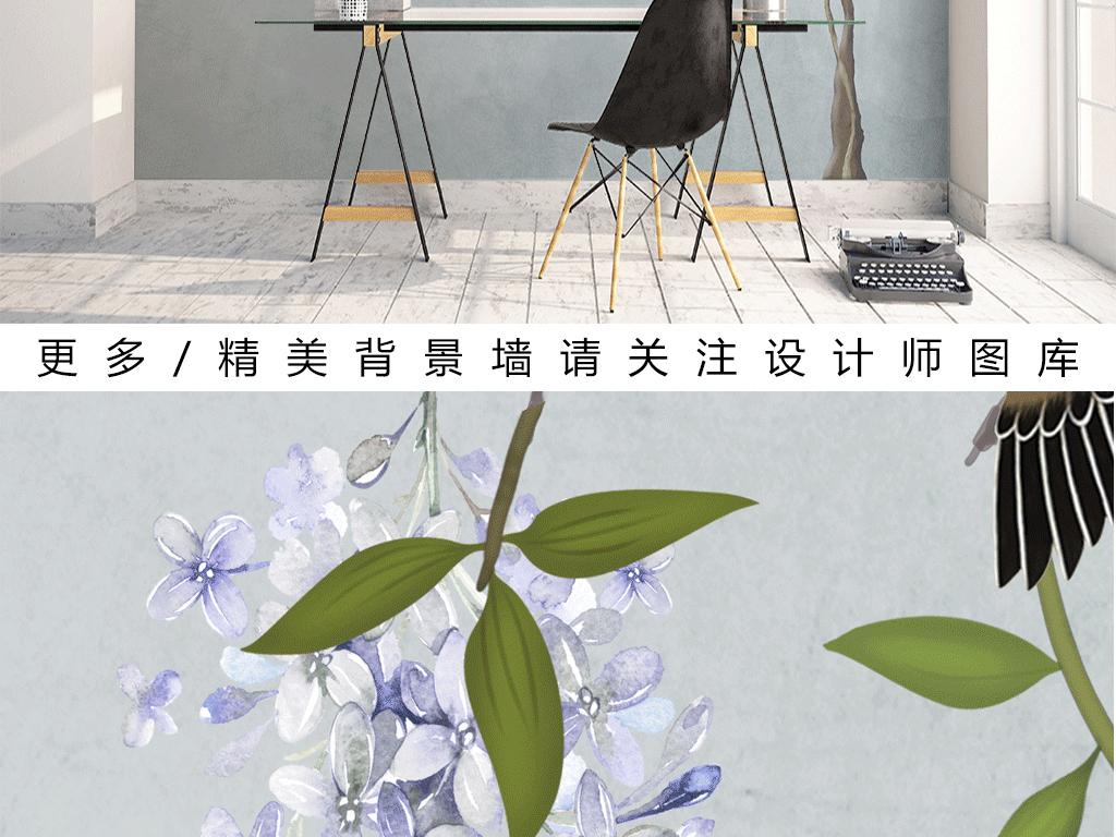新中式手绘紫藤树沙发电视背景墙