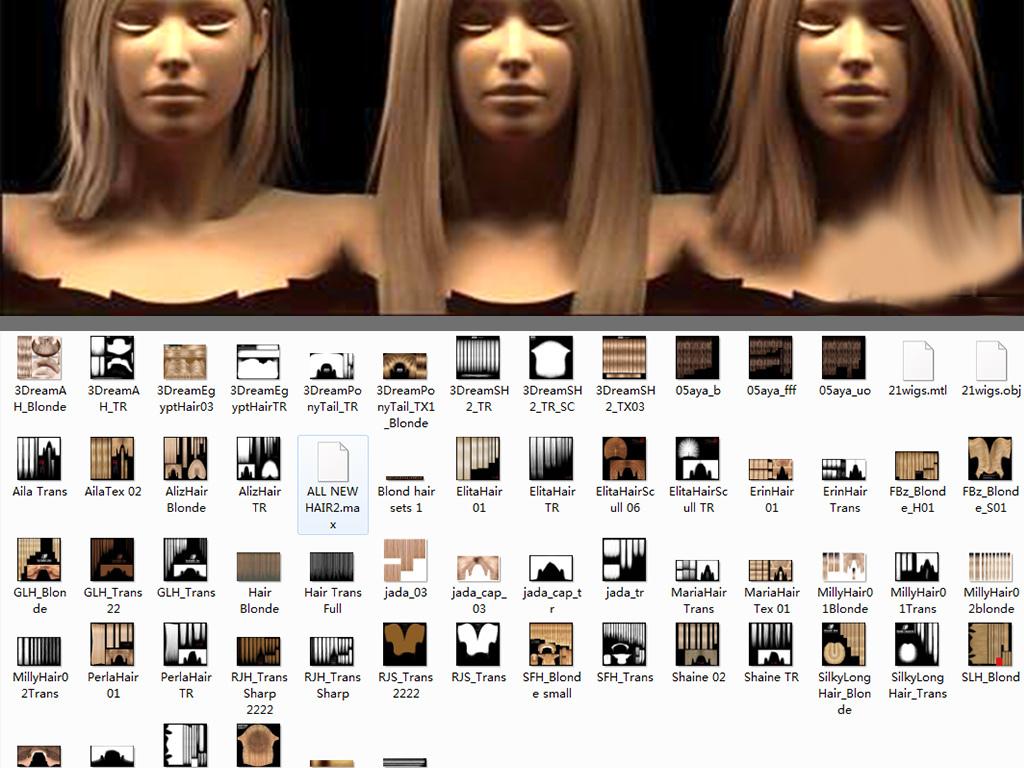 头发3d模型图片