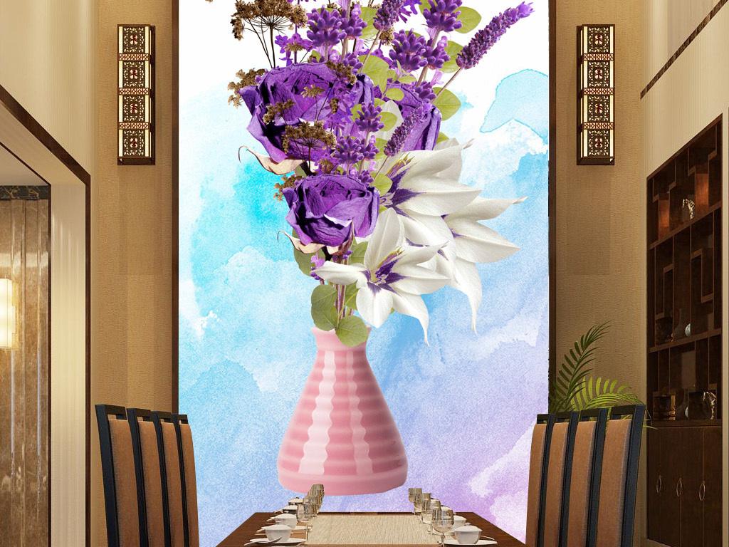 欧式紫色薰衣草干花玄关背景画图片设计素材 高清psd模板下载 167.图片
