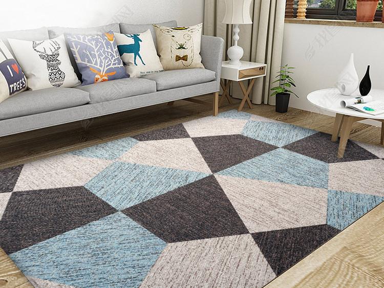 北欧现代几何简约抽象拼接地毯背景墙