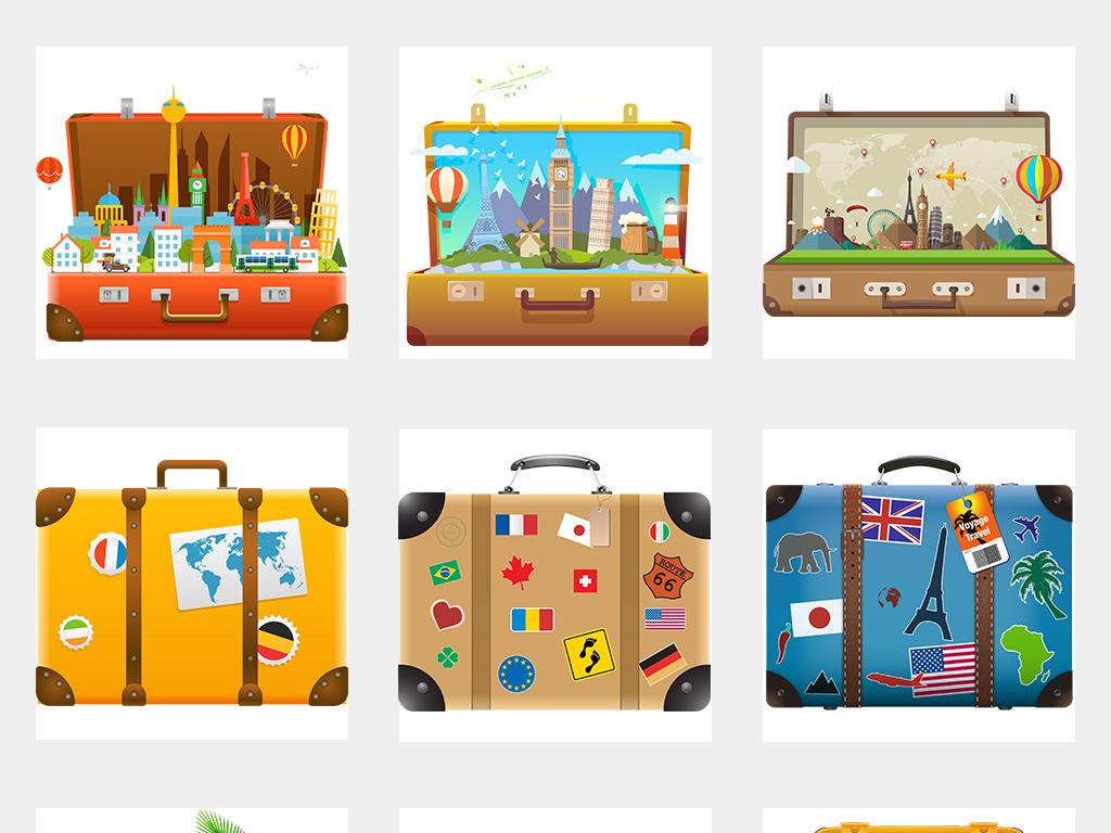 暑假卡通旅行箱旅游度假行李箱海报素材背景png