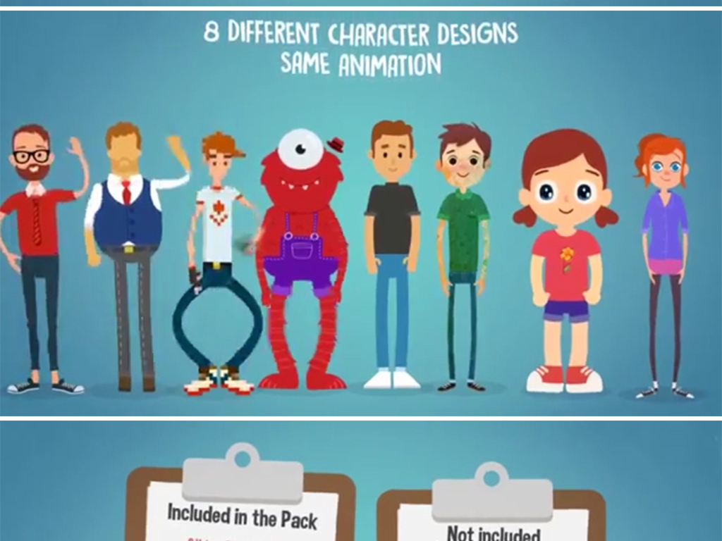ae模板自定义二维mg卡通人物角色自动绑定动画