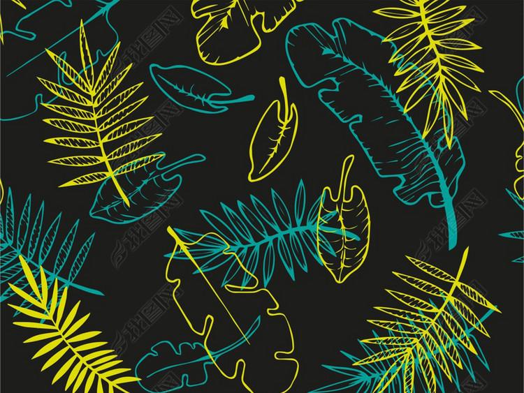 矢量图植物叶子图案