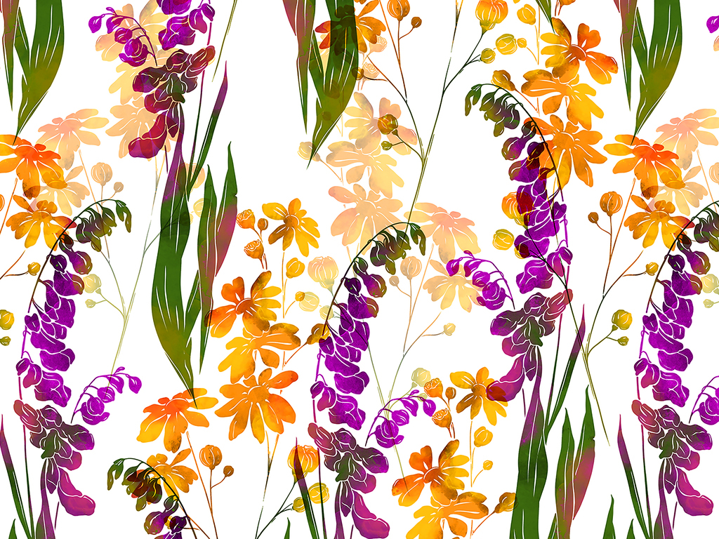 手绘彩色植物花卉无缝数码印花