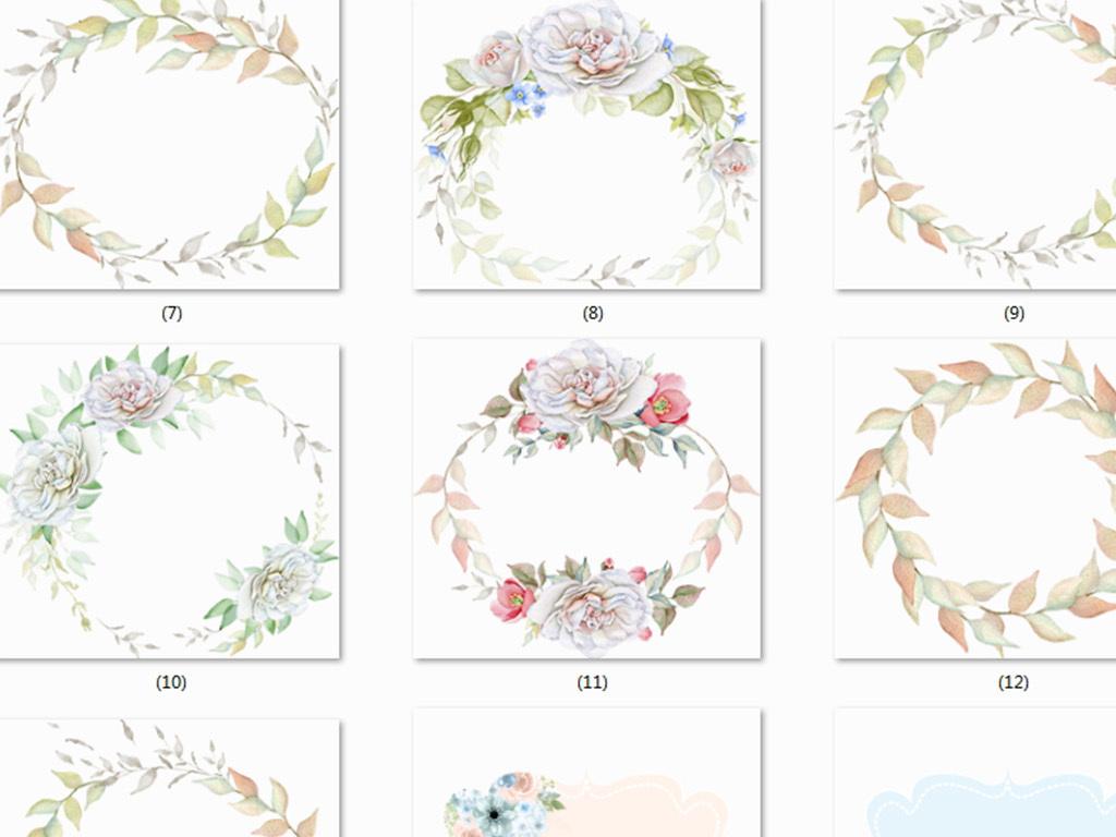 手绘背景森系精美花环花纹底纹圆形边框边框春季素材花边边框花边元素