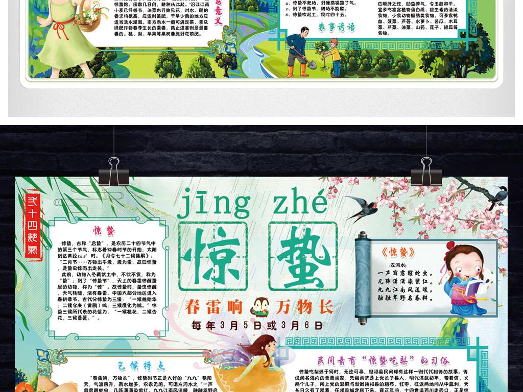 手抄报 小报 节日手抄报 其他 > 惊蛰小报二十四节气传统文化春天春游