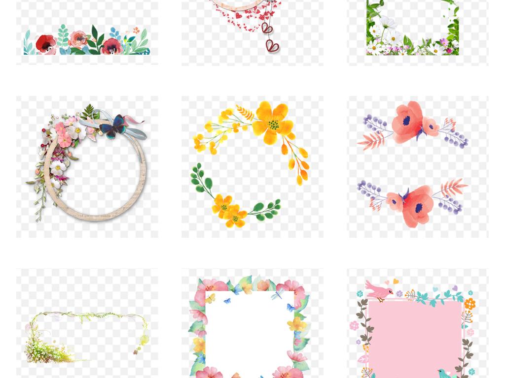 春季春装手绘圆形花环边框海报png素材