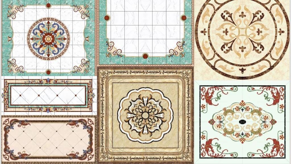 大理石水刀拼花图案中式法式欧式花纹地拼图片