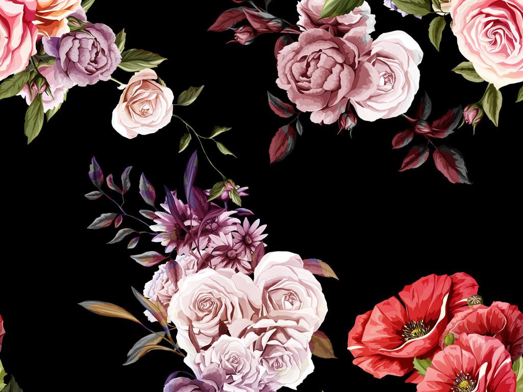 矢量图手绘大花无缝家纺图案