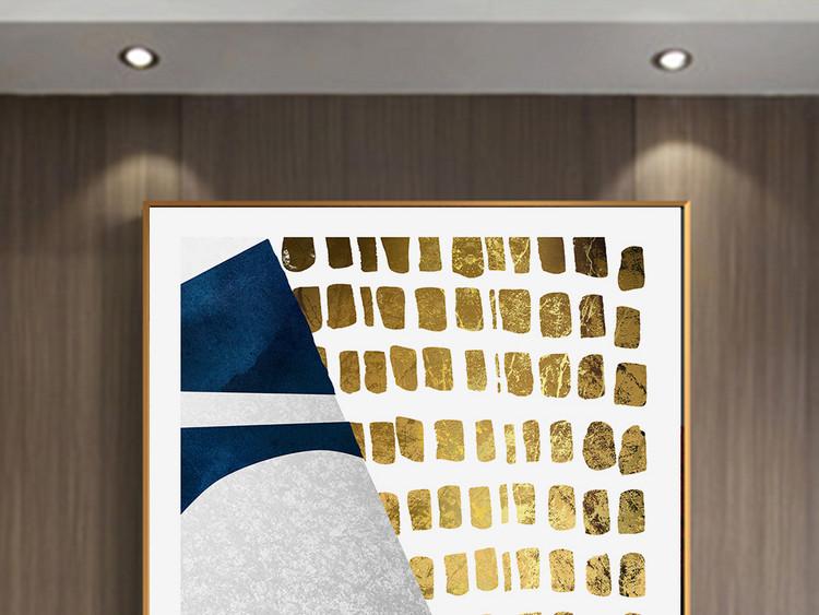 现代北欧风格几何蓝色金色客厅玄关装饰画