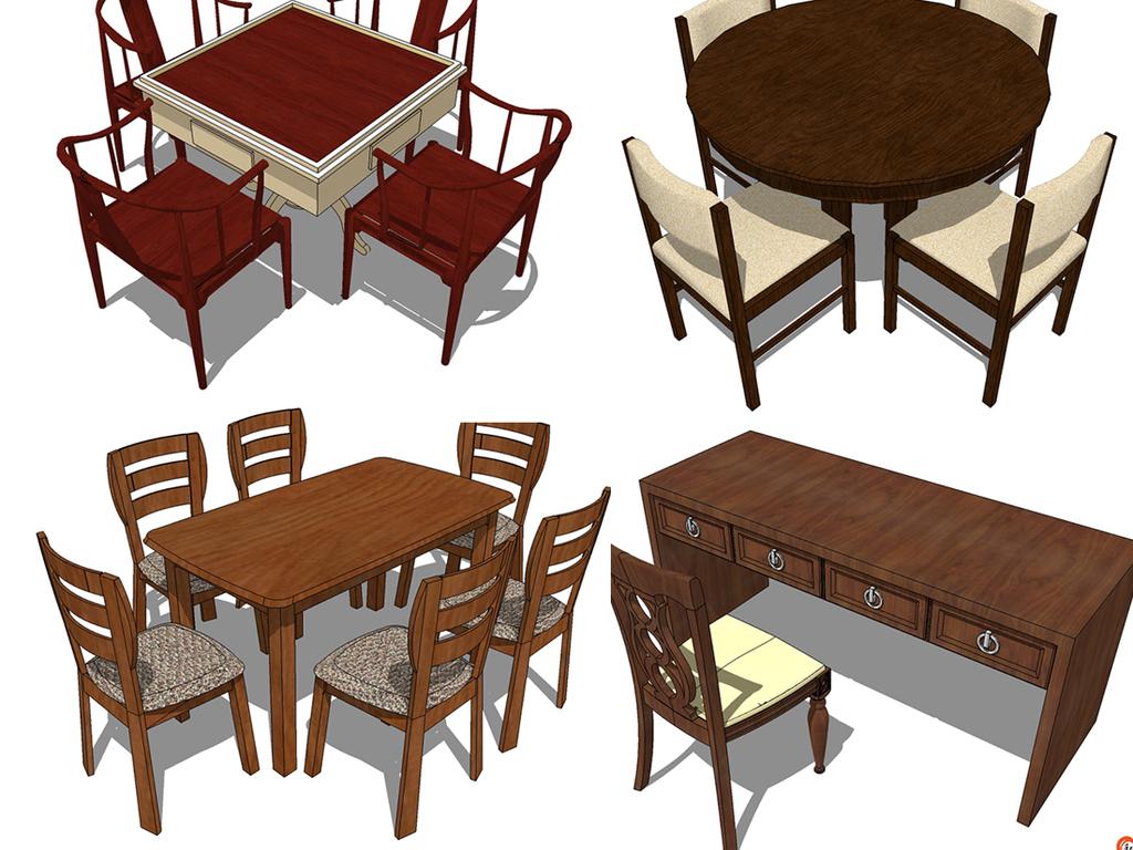 600款新中式饭桌凳子椅子家具组合素材