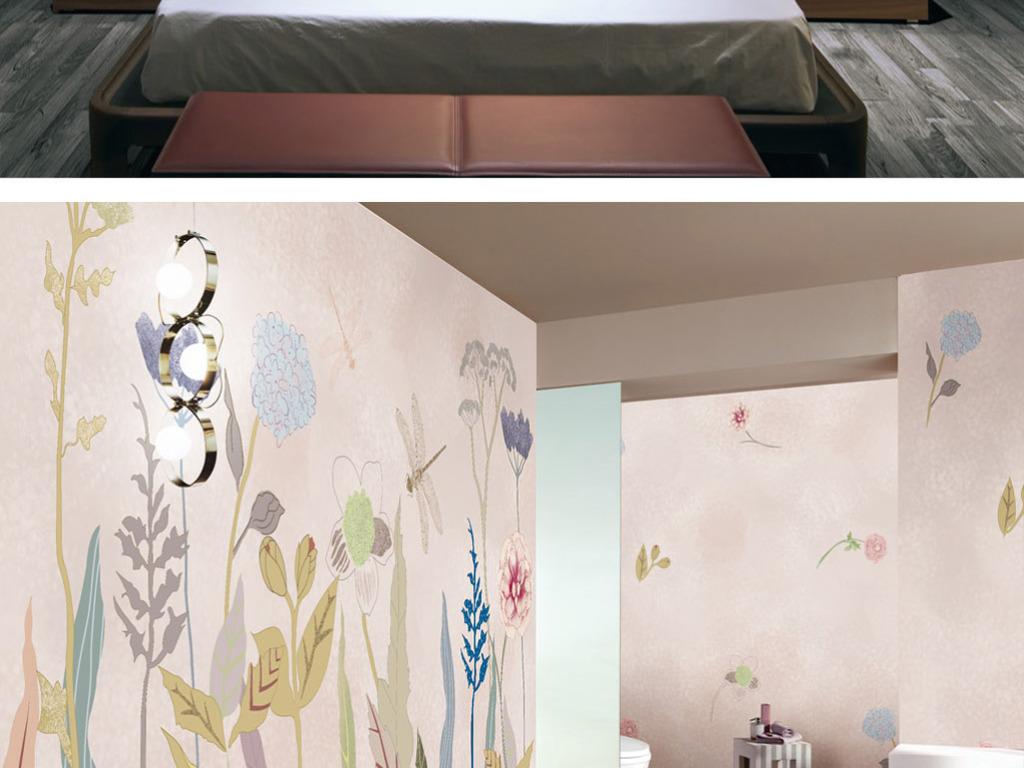 简约唯美手绘北欧宜家风格电视背景墙