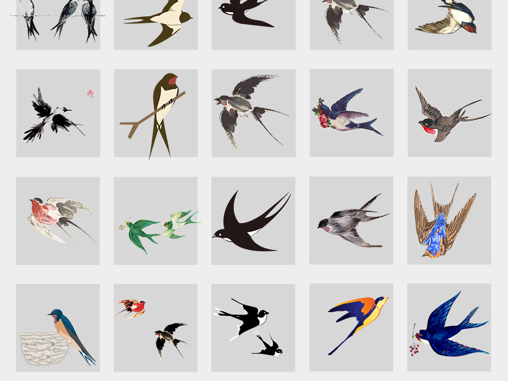png水墨中国风手绘动物春天燕子免扣设计素材