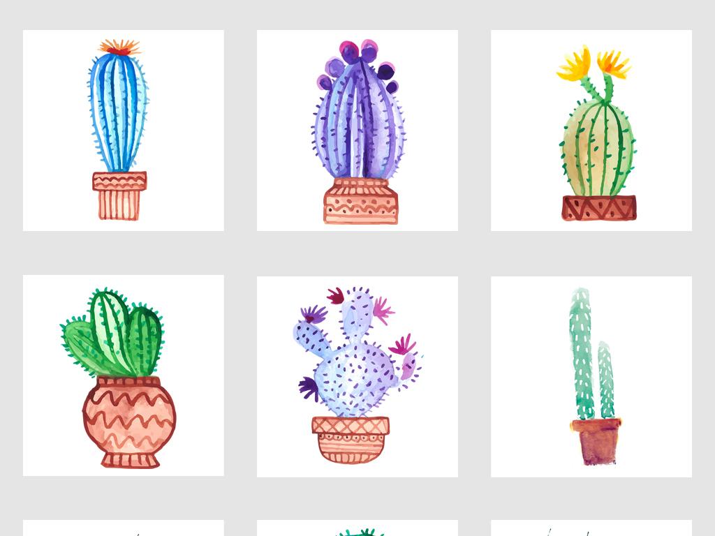 高清手绘卡通仙人掌盆栽png免抠素材