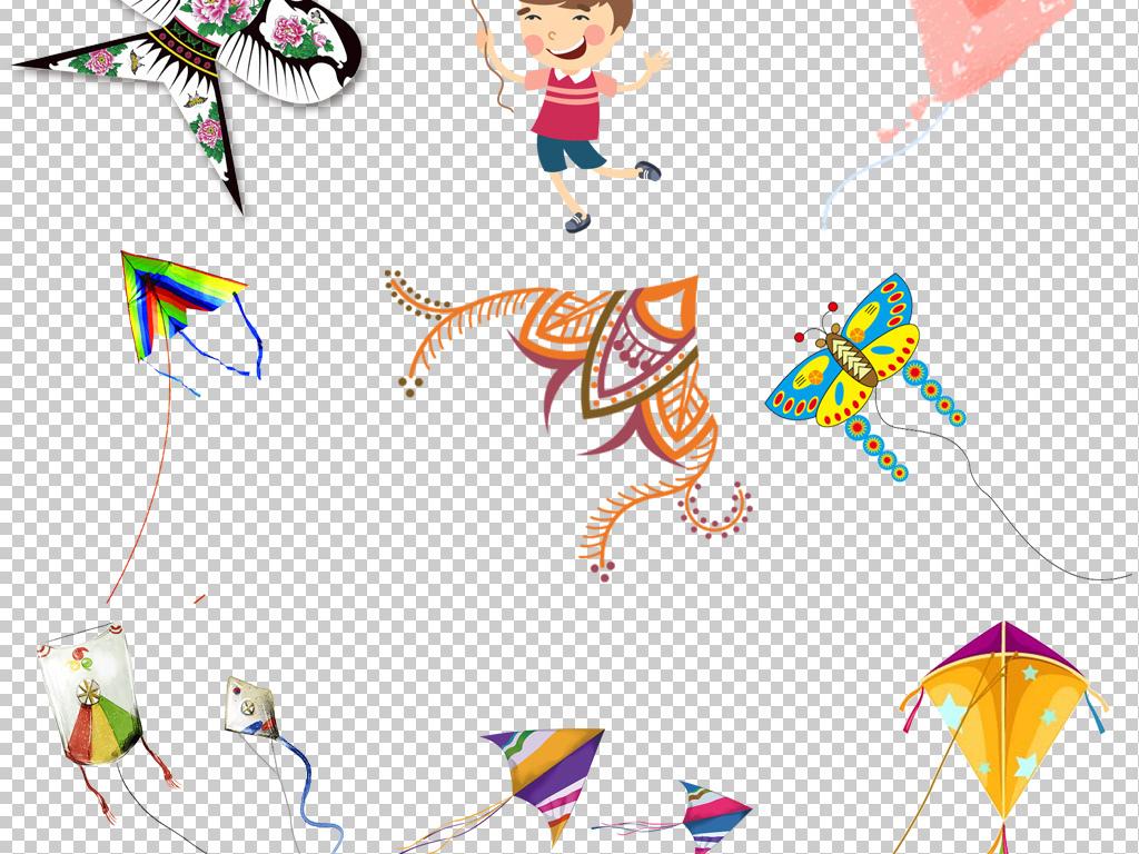 春天放风筝卡通图片小孩放三角形