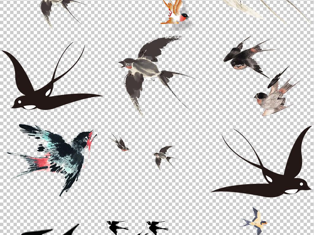 卡通飞翔燕子插画手绘燕子简笔画海报素材