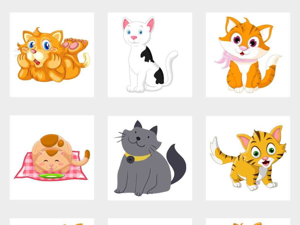 可爱卡通小猫手绘猫咪免抠png素材