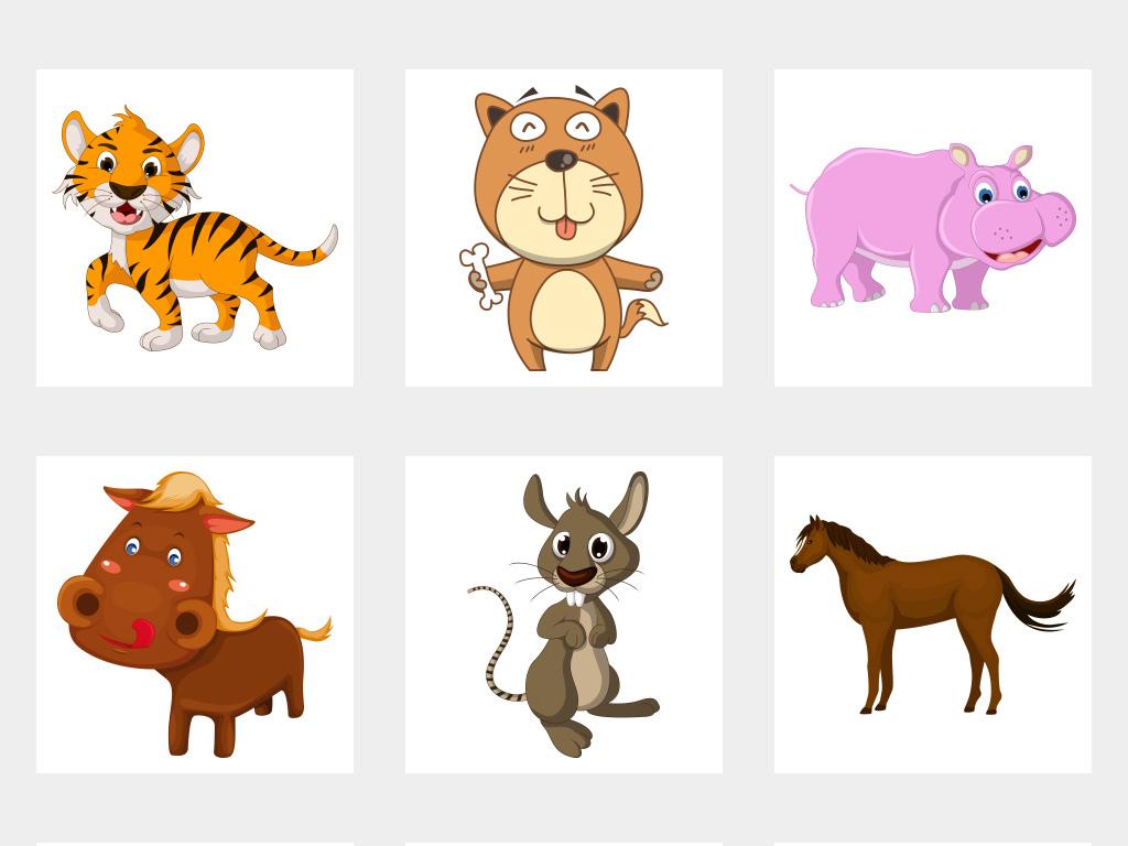 手绘可爱小动物卡通家禽动物免抠png素材