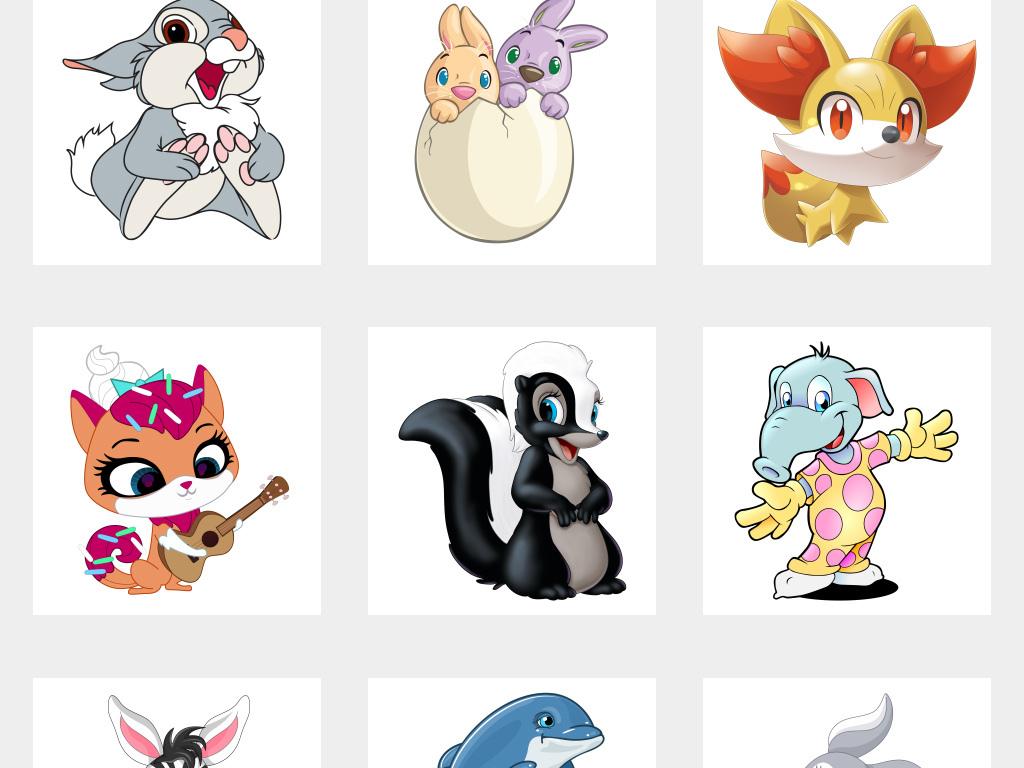 可爱卡通小动物手绘小动物免抠png素材