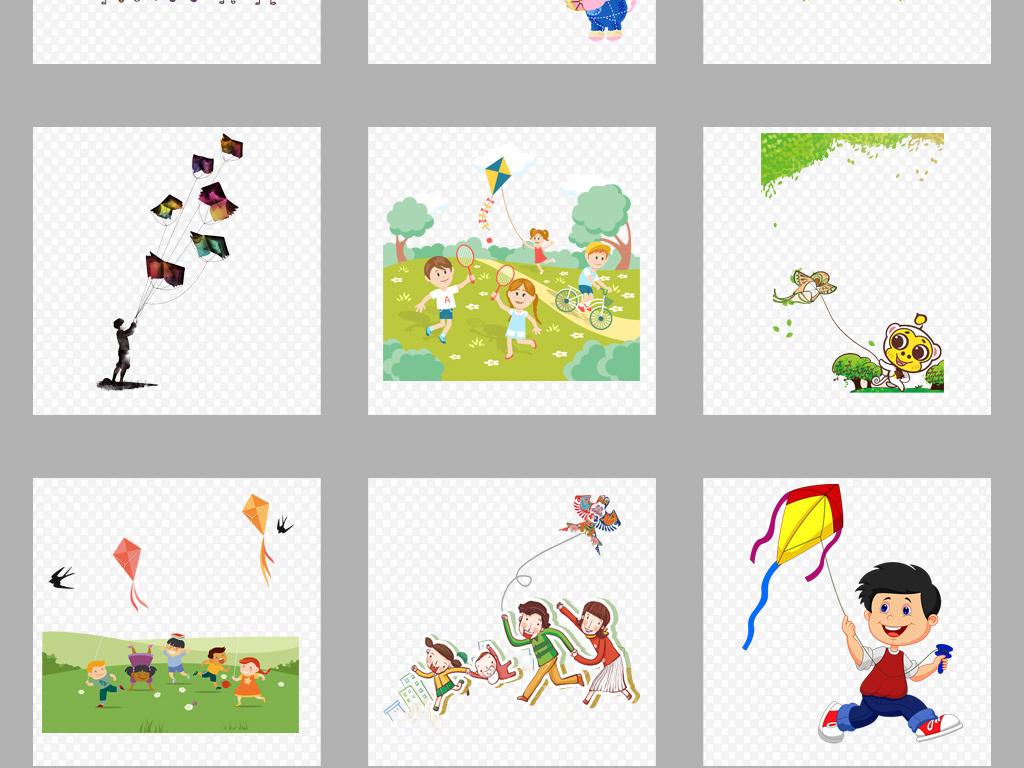 卡通古风手绘风筝放风筝小孩玩耍童趣素材