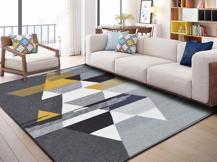 北欧宜家风格抽象几何图形现代卧室地毯地垫