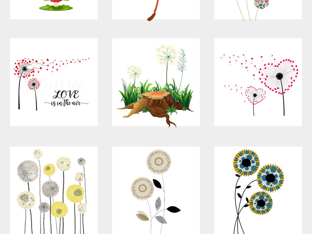 50款手绘卡通蒲公英卡通花卉背景png素材