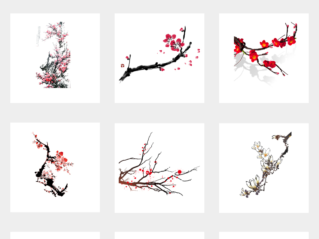 手绘粉色花花粉色梅花png水墨图片传统中国风梅花水墨水墨花朵樱花