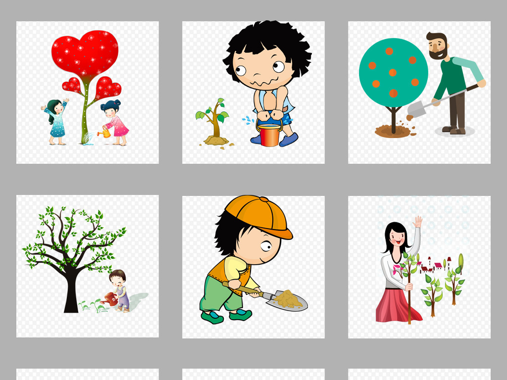 原创卡通儿童手绘植树节艺术字插画png素材