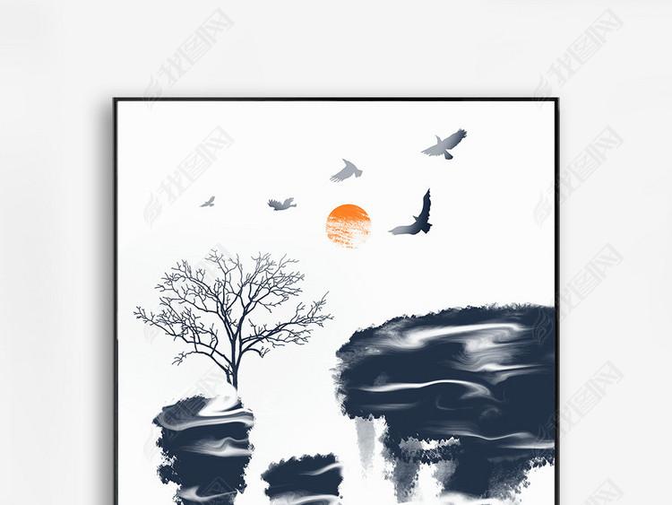 新中式抽象蓝色水墨飞鸟装饰画