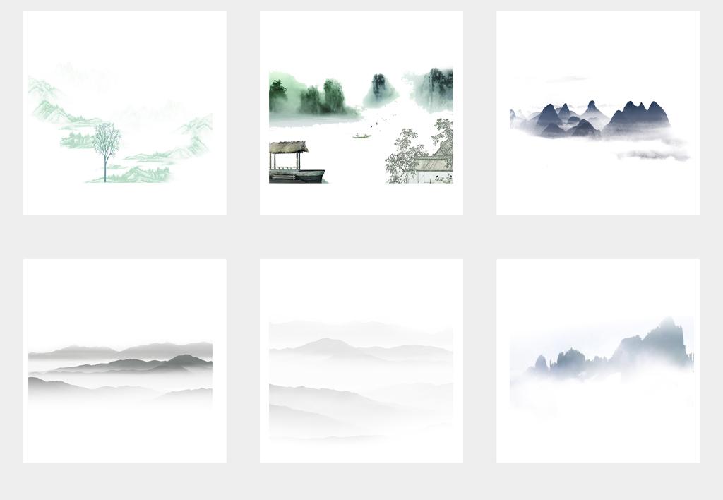 中国风水墨彩色手绘山水png透明背景素材