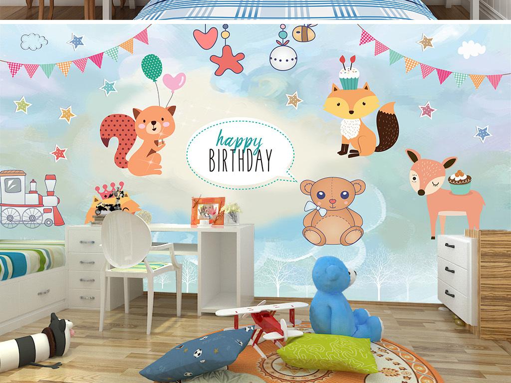 手绘卡通动物世界主题背景墙