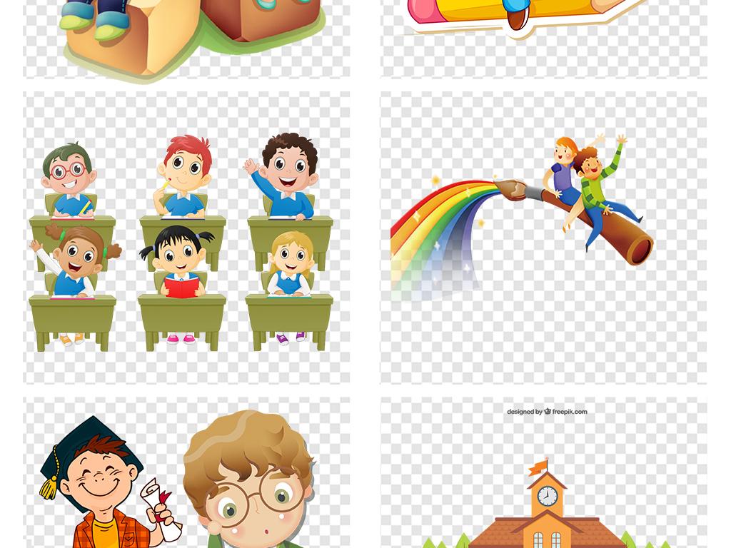 卡通儿童小孩学生幼儿园学习背景开学素材图片