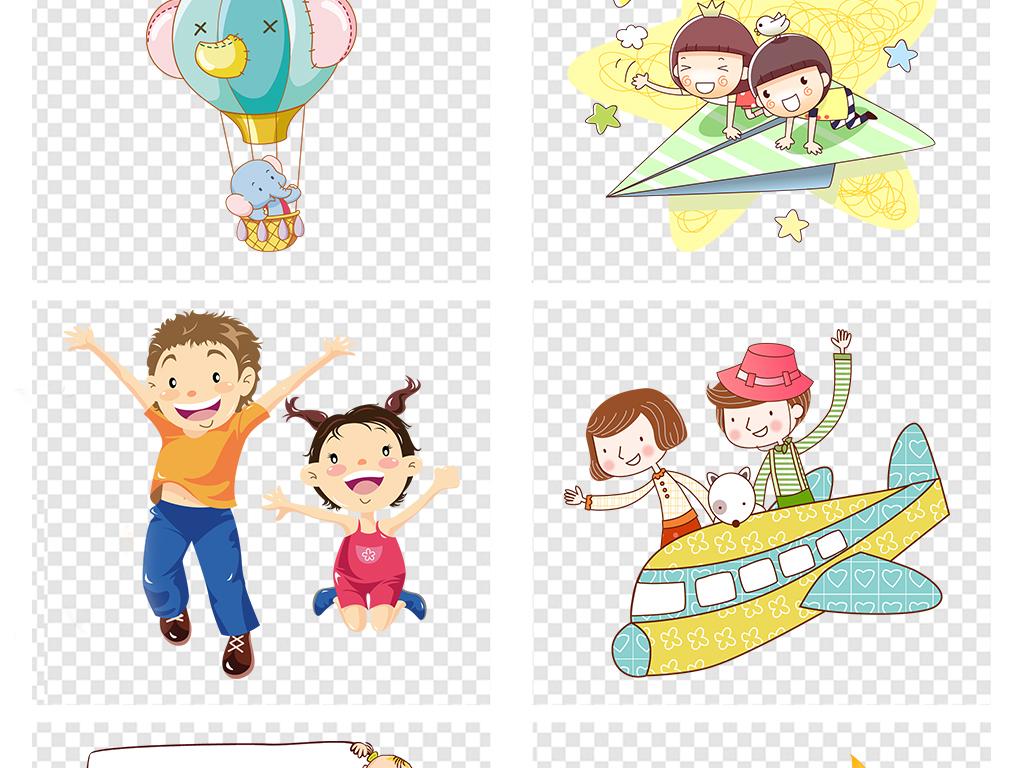 花纹边框 卡通手绘边框 > 卡通儿童小学生幼儿学习手牵手png素材