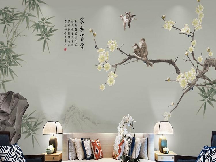 新中式素雅竹子工笔梅花电视背景墙装饰画