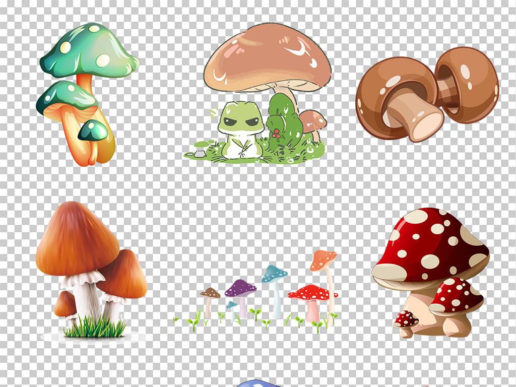 手绘可爱卡通蘑菇png素材背景免抠素材