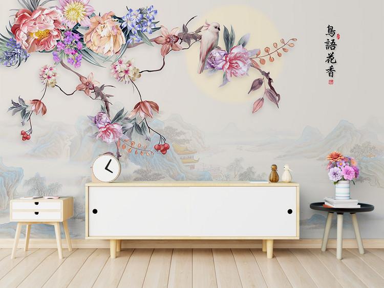 新中式手绘花鸟花朵山水电视背景墙装饰画