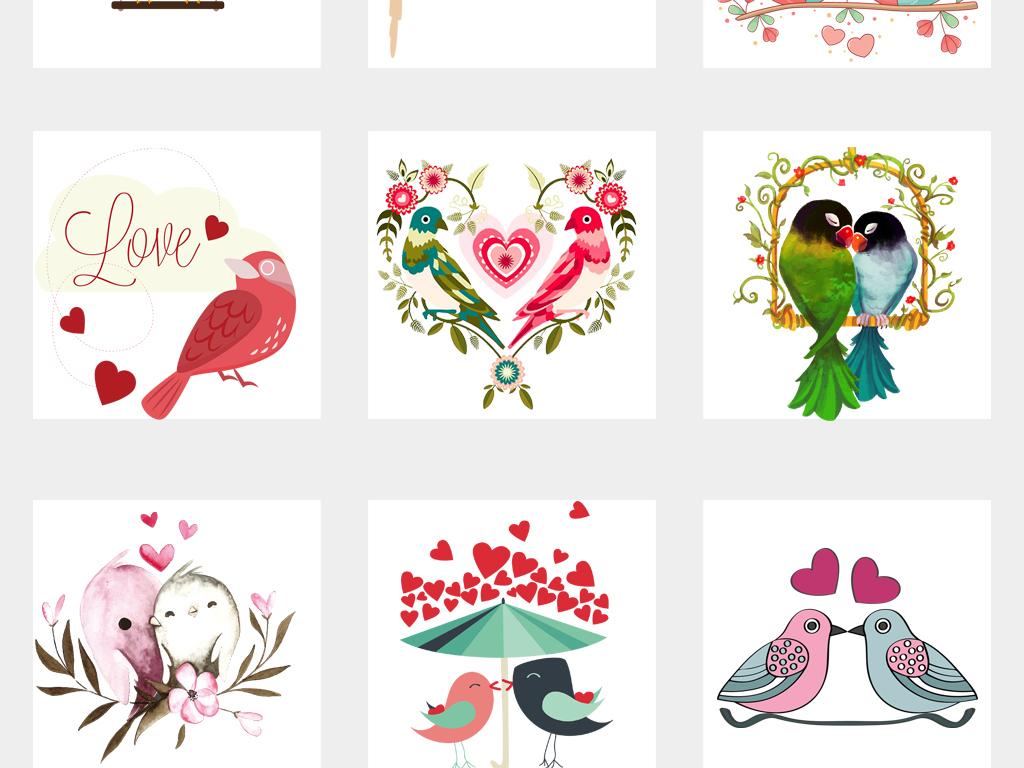 卡通手绘情侣鸟爱情鸟png免扣素材