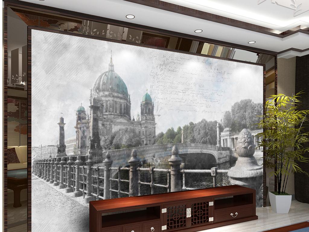 欧式素描复古城堡图片设计素材 高清模板下载 24.12MB 电视背景墙大全