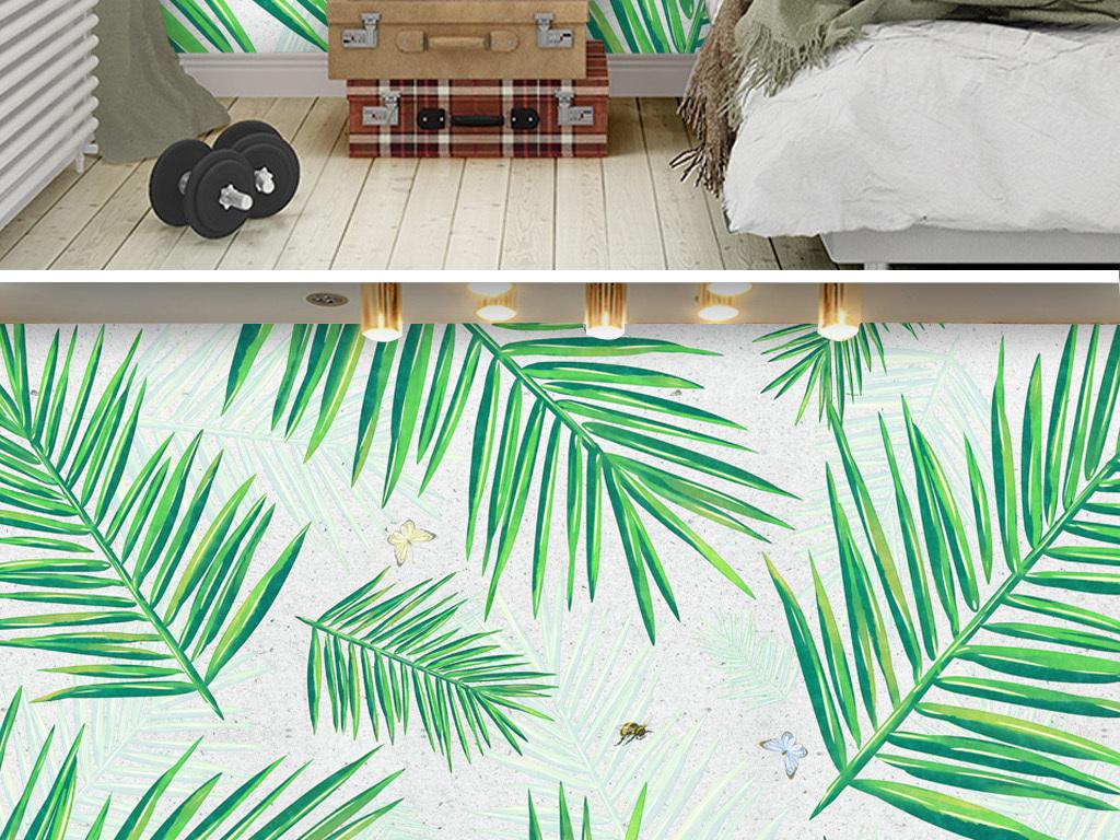 小清新北欧ins客厅卧室背景墙植物背景墙