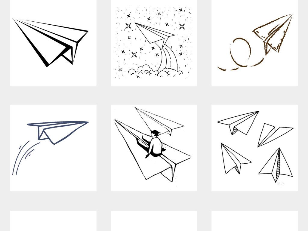 50款卡通手绘线条纸飞机飞行飞翔png免扣素材