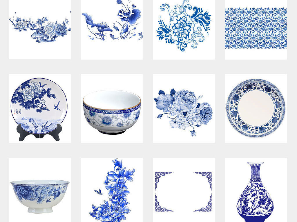 中国风青花瓷图案花纹花边边框png素材