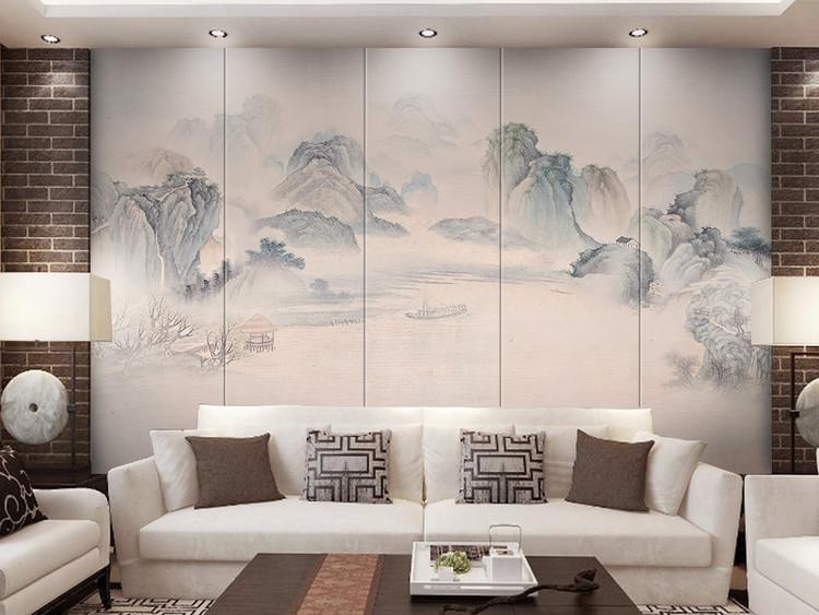 简约新中式水墨山水小船电视背景墙壁画
